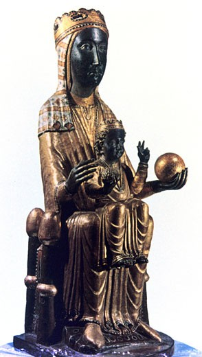Black Madonna statuette from Montserrat, Spain. : Stock Photo