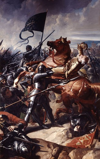 The Battle of Castille 1453, Charles Philippe Lariviere, (1798-1876/French) : Stock Photo