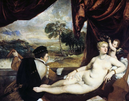 Stock Photo: 1746-2459 Venus and the lute player, Titian, (ca.1485-1576/Italian)