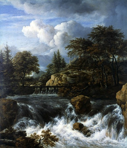 A Waterfall in a Rocky Landscape , c.a.1660-70, Jacob van Ruisdael, (1628-1682/Dutch), Oil on canvas : Stock Photo