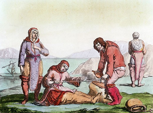 Stock Photo: 1746-2513 Natives of the Arctic, dressed in animal skins, using a thong drill to make fire (blister method). From Costume Antico et Moderno, Rome, 1825-35