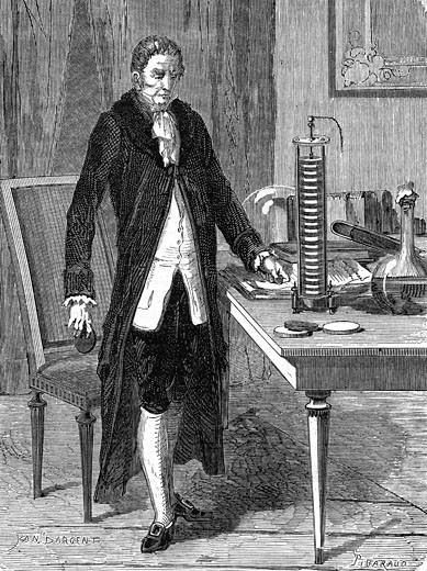Stock Photo: 1746-2516 Alessandro Volta (1745-1827) Italian physicist, demonstrating his electric pile (battery). Wood engraving, Paris, c.1870
