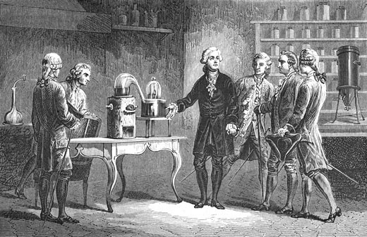 Stock Photo: 1746-2532 Antoine Laurent Lavoisier (1743-1894) French chemist, demonstrating his discovery of oxygen, 1776. On the table in the right background of the picture is his calorimeter, From Louis Figuier Vies des Savant Illustres du XVIIIe Siecle, Paris 1874, Engraving