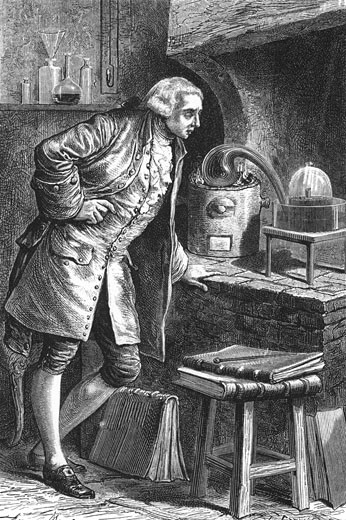Stock Photo: 1746-2533 Antoine Laurent Lavoisier (1743-1894) French chemist, investigating the existence of oxygen in the air; experiment in which he obtained mercuric oxide. From Camille Flammarion The Atmosphere, London, 1873. Engraving