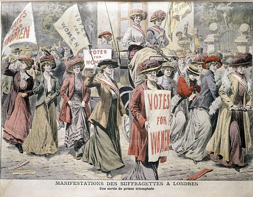 "English suffragettes Edith New and Mary Leigh being carried through London streets after release from Holloway Prison, August 22, 1908 From ""Le Petit Journal"", Paris September 6, 1908 : Stock Photo"