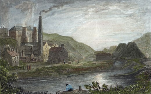 Blast furnaces for production of iron at Coalbrookdale, Monmouthshire, c1830. This scene is on the river Severn a few miles from Ironbridge. On the left, behind the tall chimney, it is possible to see the iron walkway giving access to the two blast furnaces in order to charge them with ore and fuel. : Stock Photo