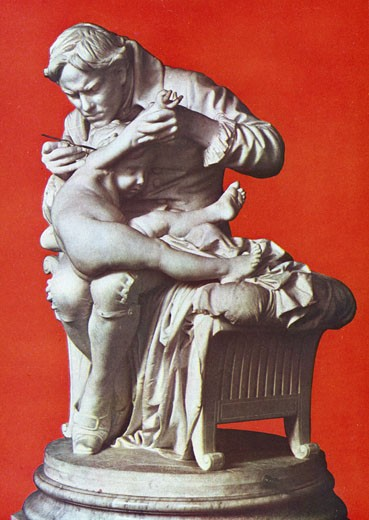 Stock Photo: 1746-2618 Edward Jenner, English physician, vaccinating his son, Jenner (1749-1823) by 1796 had proved that serum from Cowpox would protect from smallpox. Sculpture in bronze by Giulio Monteverde (1837-1917) Italian [500034053] Galleria Nazion