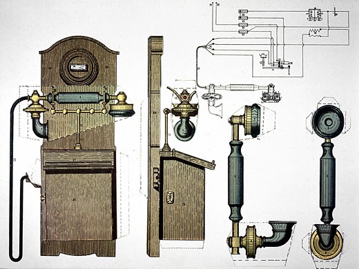 Stock Photo: 1746-2638 Wall mounted telephone. From Henri Desarces Grande Encyclopedie Practique c1910. Chromolithograph