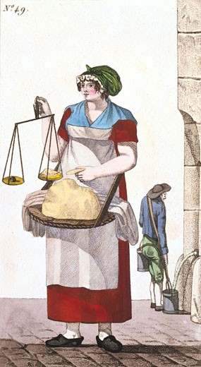 Stock Photo: 1746-2684 Butter seller with balance to weigh her butter. In background water carrier is filling buckets at conduit, From Arts, Metiers et Cris de Paris Paris, 1826, Coloured engraving