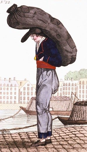 Stock Photo: 1746-2686 Paris Coalman, with barge on the Seine River in background, From Arts, Metiers et Cris de Paris Paris, 1826, Coloured engraving