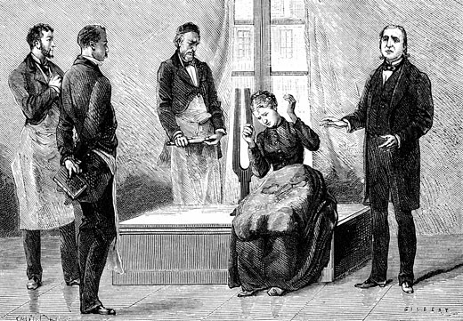 Jean-Martin Charcot (1825-1903) French neurologist and pathologist, on right, demonstrating production of hypnosis using the sound from a large tuning fork. Picture drawn from life at the Salpetriere Hospital, Paris, Engraving from La Nature, Paris, 1879 : Stock Photo