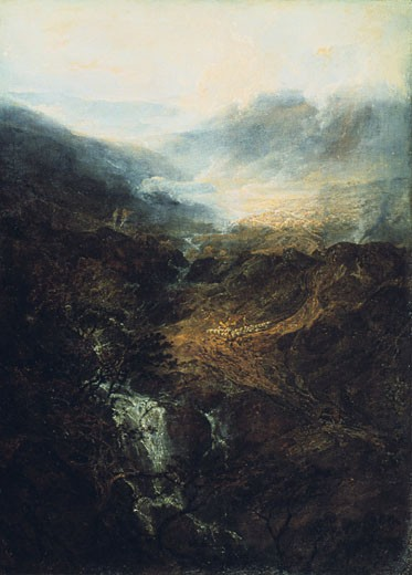Stock Photo: 1746-2740 Morning Amongst the Coniston Fells, Cumberland, 1798, Joseph Mallord William Turner, (1775-1851/British), Oil on canvas