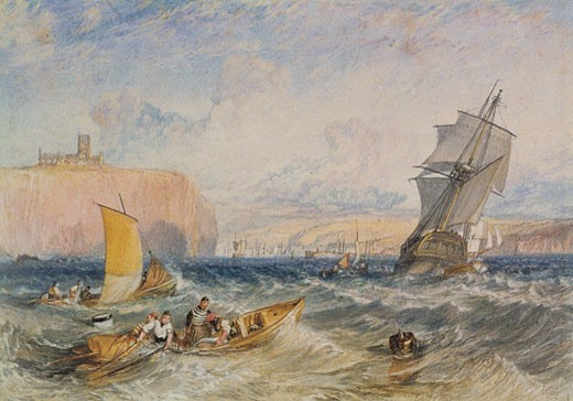 Whitby, 1824, Joseph Mallord William Turner, (1775-1851/British), Watercolor on paper : Stock Photo