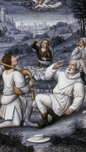 Stock Photo: 1746-2757 Angel summoning the shepherds of the Nativity. From 16th century Book of Hours. Angel, messenger of God,  on cloud from which come shafts of holy light,appears to amazed shepherds, one of whom is playing bagpipes.