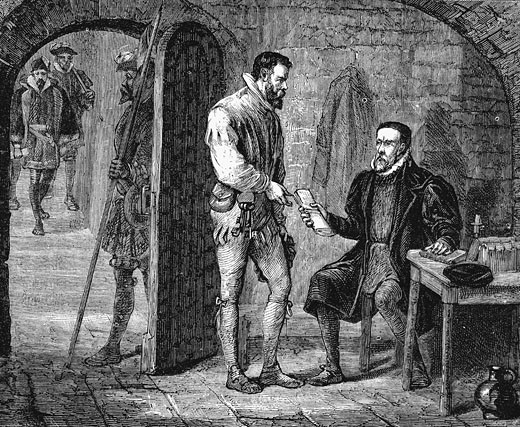 Stock Photo: 1746-277 William Tyndale of Tindale giving his jailer a packet thought to have contained his translation on the Old Testament Late 19th century Wood engraving
