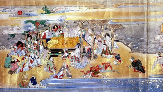 Death of Buddha, Pari Nirvana.  Episode from 18th century Japanese manuscript scroll. British Museum, London  : Stock Photo