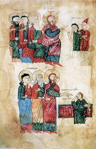 Jesus curing the man possessed of a devil (top). Raising of Lazarus, brother of Martha and Mary, after four days (bottom). After Armenian Evangelistery (1394). Calligraphy and painting by Rotakes. : Stock Photo