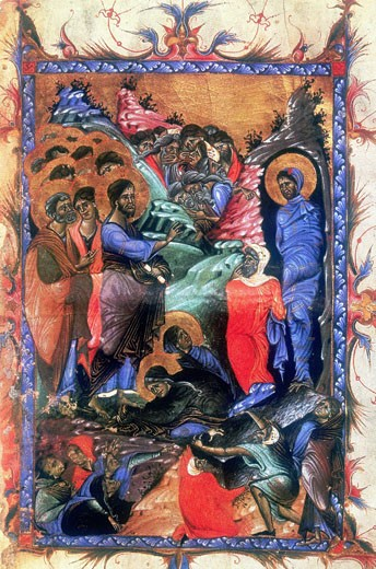 Stock Photo: 1746-2783 Jesus raising Lazarus after four days. Martha and Mary, sisters of Lazarus kneel at Jesus' feet.  After Armenian Evangelistery (c.1280)