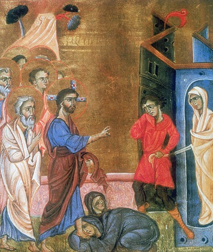 Stock Photo: 1746-2784 Jesus raising Lazarus after four days. Martha and Mary, sisters of Lazarus kneel at Jesus' feet as Lazarus is led from tomb in his shroud.  After Armenian gospel (c.1269). Painter and calligrapher Toros Rosline