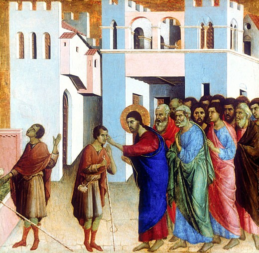 Stock Photo: 1746-2785 Christ Healing the Blind Man Duccio di Buoninsegna (1278-1318 Italian) National Gallery, London