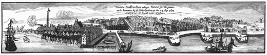 Dutch settlement of New Amsterdam, later to become New York, in 1673 Engraving : Stock Photo