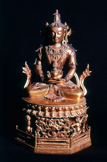 "Stock Photo: 1746-2799 Amitaba Buddha in his manifestation of ""Boundless Life"" sitting holding a vessel containing the nectar of immortality. Tibetan Art. Bronze. 18th century."
