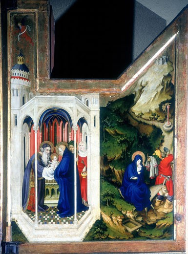 Stock Photo: 1746-2802 The Presentation at the Temple and The Flight Into Egypt. From a triptych. Melchior Broederlam (fl.1381-1409 Netherlandish) Musee des Beaux Arts, Dijon