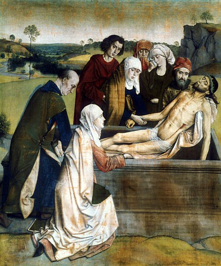 The Entombment Dieric Bouts the Elder (ca.1415-1475 Flemish) National Gallery, London, England : Stock Photo