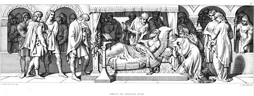 Stock Photo: 1746-281 Death of Edward The Confessor, Anglo-Saxon king of England, From The Story of The Norman Conquest, London, 1866, Daniel Maclise (1806-1870 Irish), Engraving
