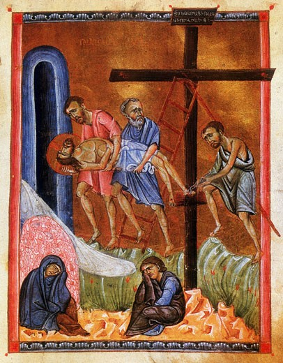 Stock Photo: 1746-2824 Deposition, Entombment and Lamentation of Christ.  After Armenian Evangelistery (c.1268). Painter and calligrapher Toros Rosline