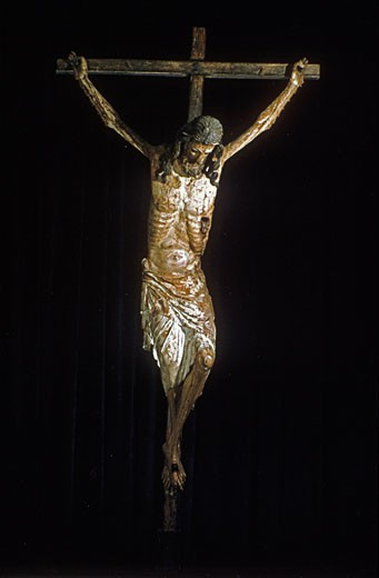 Stock Photo: 1746-2832 Christ on the Cross 14th century Crucifix. National Museum of Machado de Castro, Coimbra, Portugal