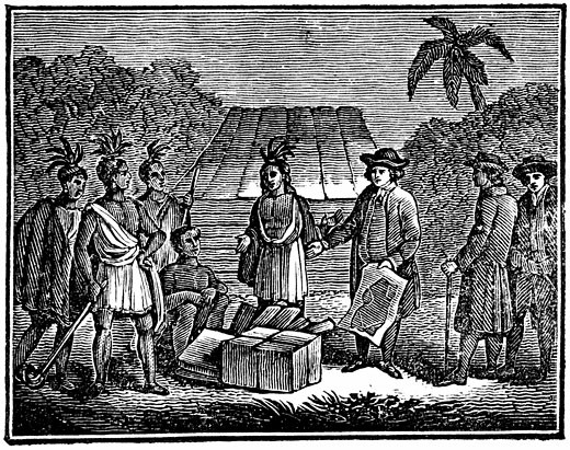 William Penn (1644-1718) English Quaker colonist, treating with Native Americans on site of present day Philadelphia 1830 Woodcut : Stock Photo