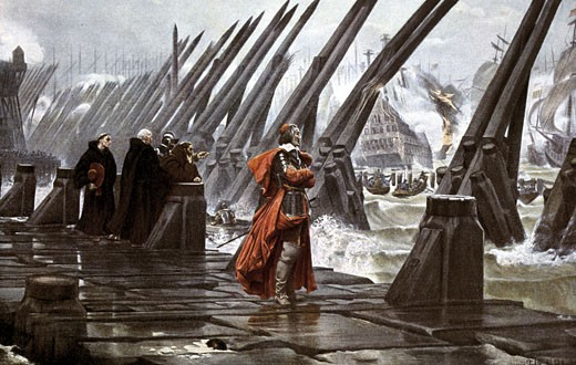 Stock Photo: 1746-2844 The Siege of La Rochelle, Henri-Paul Motte, 1846-1922, French, Stronghold of Huguenots, La Rochelle was starved into surrender during Cardinal Richelieu's campaign to break their power in France