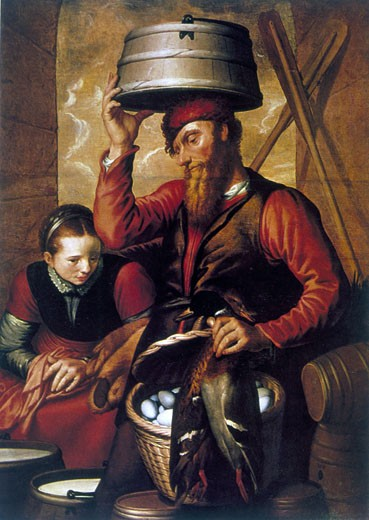 The Game Dealer, Pieter Aertsen (c.1508-1575/Netherlandish) : Stock Photo