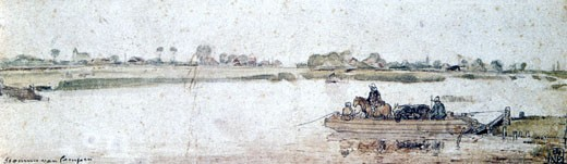 Stock Photo: 1746-2863 River landscape with ferry, Hendrik Avercamp (1585-1634/Dutch) Watercolour, pen brown ink and white highlights. Museum of Fine Arts, Budapest
