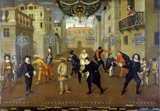 'Farceurs' French and Italian characters from the Comedia del Arte. The Captain 5th from left, Harlequin 6th from left. French playwright Moliere (1622-73) on left. Anonymous: 17th century. Oil on canvas, 1670. Comedie Francais collection : Stock Photo