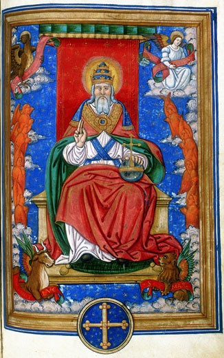 God the Father, 1545. God enthroned, hand raised in blessing. At the corners are the symbols of the four Evangelists: Angel of St Matthew, Lion of St Mark, Eagle of St John, and Ox of St Luke. Miniature from a 16th century French Missal with text of the Lyons liturgy. Private collection. : Stock Photo