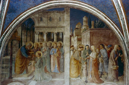 Stock Photo: 1746-2891 Ordination of St. Stephen by St. Peter Fra Angelico (ca.1395-1455 Italian) Fresco Chapel of Nicholas V, Vatican Palace