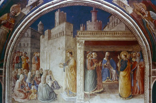 St. Stephen Preaching Fra Angelico (ca.1395-1455 Italian) Fresco Chapel of Nicholas V, Vatican Palace : Stock Photo