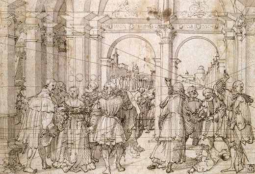 Stock Photo: 1746-2894 The Story of Lucretia, J?rg Breu the Elder, (ca. 1475-1537/German), Pen and black ink on paper