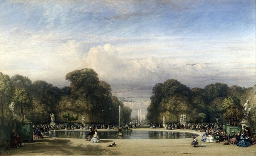The Tuileries Gardens, with the Arc de Triomphe in the Distance, 1858, William Wyld, (1806-1889/British), Watercolor on Paper : Stock Photo