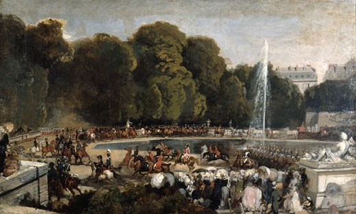 Stock Photo: 1746-2910 The entry of the Duchess of Orleans, Entr?e de la duchesse d'Orl?ans dans le jardin des Tuileries, ca, 1841, Eugene Louis Lami,  1800-1890, French,  Oil on canvas, Musee du Louvre, Paris