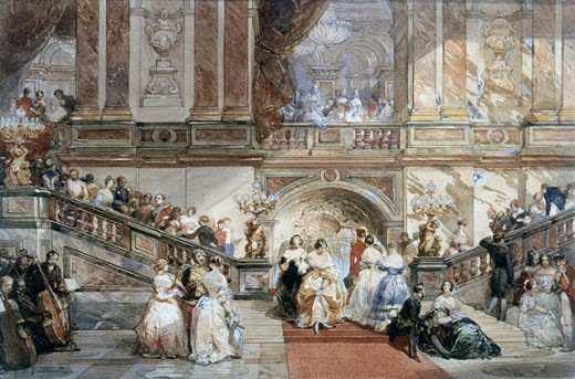 Ball at the Hotel de Ville, 1860, Eugene Louis Lami, (1800-1890/French), Watercolour : Stock Photo