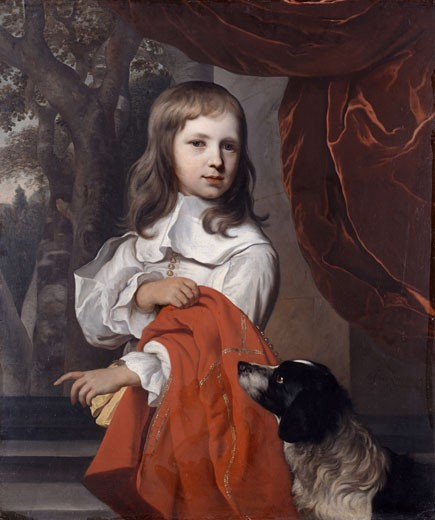 Portrait of a young boy with a dog, 1658, Jacob van Loo, (1614-1670/Dutch) : Stock Photo