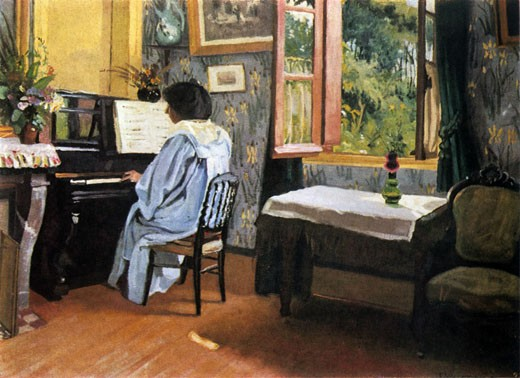A Woman at the Piano, 1904, F?lix Edouard Vallotton, (1865-1925/Swiss) : Stock Photo