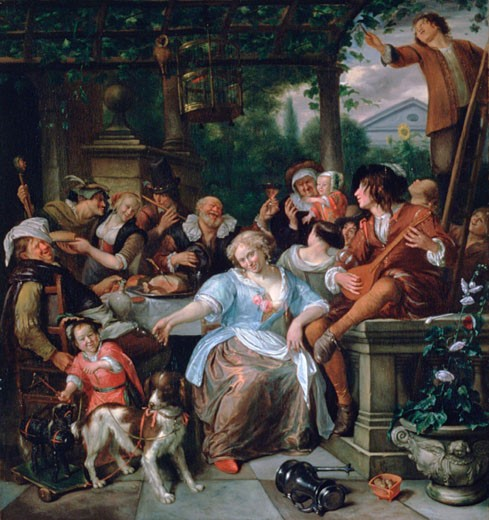 Stock Photo: 1746-3007 Merry Company on a Terrace, c1673-1675, Jan Steen, (1626-1679/Dutch), Oil on canvas, Metropolitan Museum of Art, New York