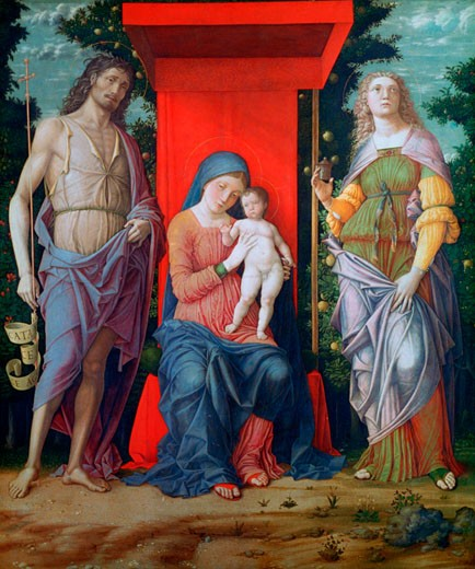 The Virgin and Child with the Magdalen and Saint John the Baptist probably 1490-1505 Andrea Mantegna (1431-1506 Italian) Egg tempera on canvas National Gallery, London : Stock Photo