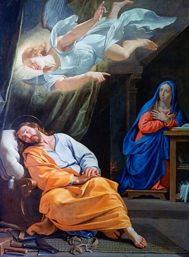 The Dream of Saint Joseph c1636 Philippe de Champaigne (1602-1674 French) Oil on canvas National Gallery, London : Stock Photo