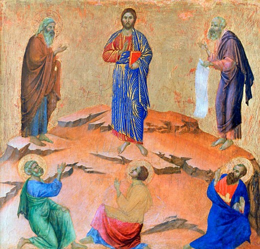 Panel from the Maestà Altarpiece: The Transfiguration 1311 Duccio di Buoninsegna (ca.1255-ca.1319 Italian) Egg tempera on poplar National Gallery, London : Stock Photo