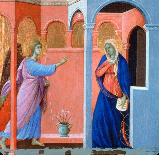 Panel from the Maestà Altarpiece: The Annunciation 1311 Duccio di Buoninsegna (ca.1255-ca.1319 Italian) Egg tempera on poplar National Gallery, London : Stock Photo